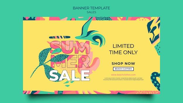 Poziomy baner na sprzedaż letnią