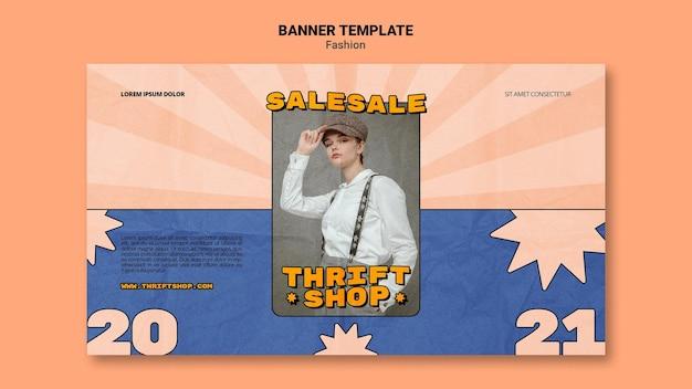Poziomy baner na sprzedaż mody w sklepie z używanymi rzeczami