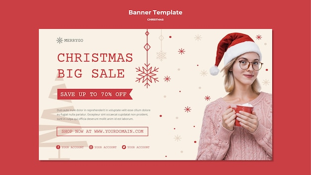 Poziomy baner na sprzedaż świąteczną