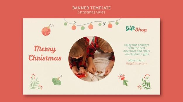 Poziomy baner na świąteczną wyprzedaż z dziećmi