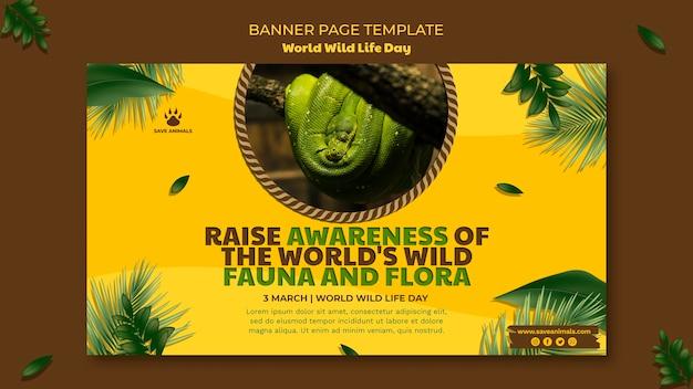 Poziomy baner na światowy dzień dzikiej przyrody ze zwierzętami