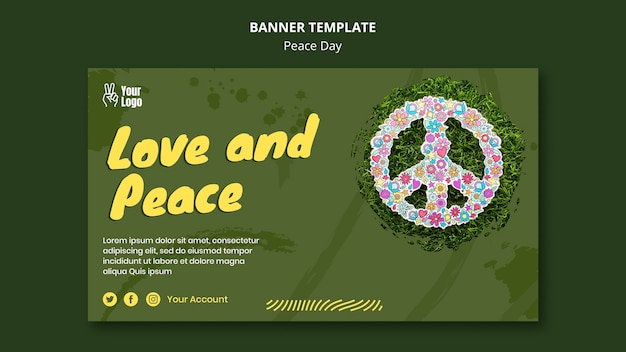 Poziomy baner na światowy dzień pokoju