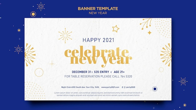 Poziomy baner na świętowanie nowego roku
