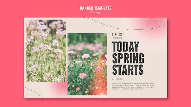 Poziomy baner na wiosnę z kwiatami
