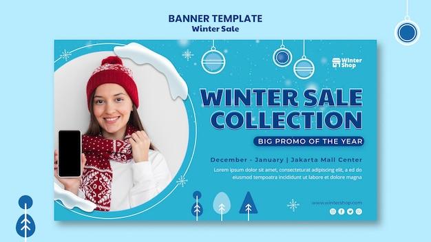 Poziomy baner na zimową wyprzedaż