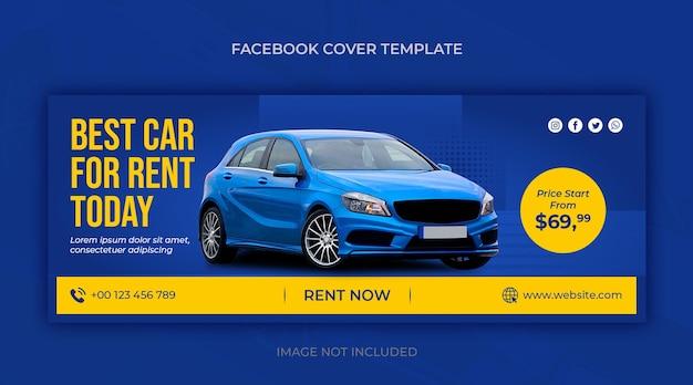 Poziomy baner promocyjny na wynajem samochodów lub szablon okładki na facebooku