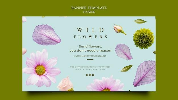 Poziomy baner sklepu z kwiatami