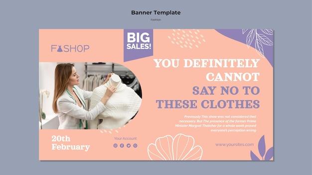 Poziomy baner sprzedaży mody
