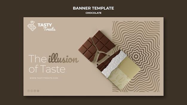 Poziomy baner szablon dla czekolady