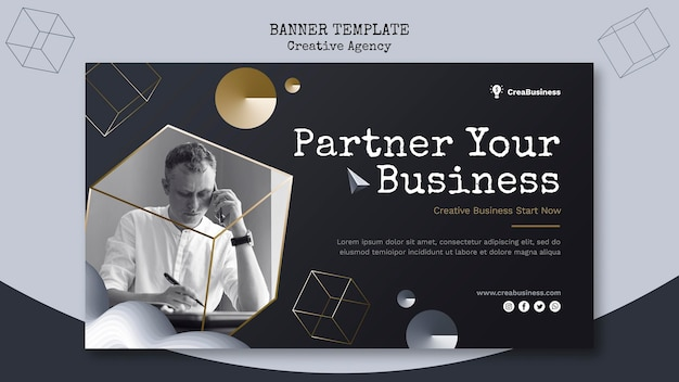 Poziomy baner szablon dla firmy partnerskiej