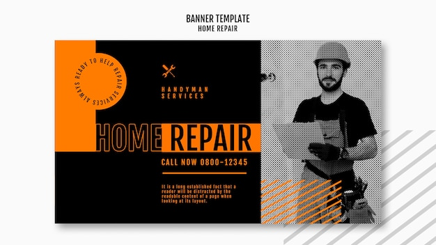 Poziomy baner szablon dla firmy remontowej