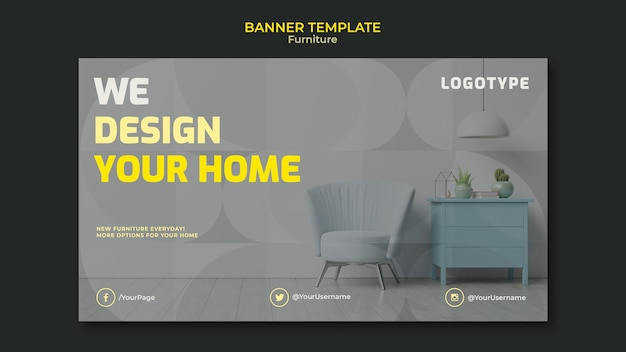 Poziomy baner szablon dla firmy zajmującej się projektowaniem wnętrz