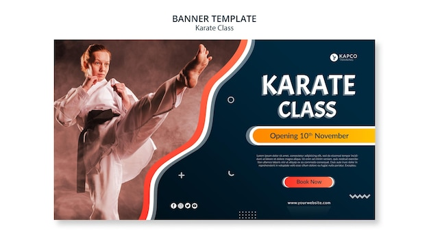 Poziomy baner szablon dla klasy karate kobiet