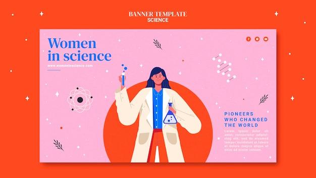 Poziomy baner szablon dla kobiet w nauce