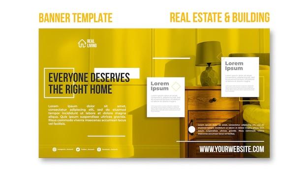 Poziomy baner szablon dla nieruchomości i budynków