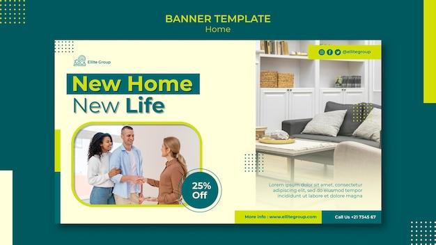 Poziomy baner szablon dla nowego domu rodzinnego