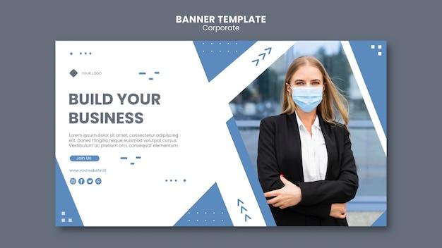 Poziomy baner szablon dla profesjonalnego biznesu