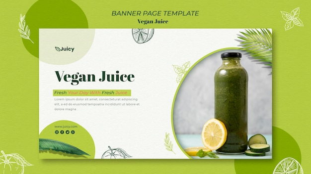 Poziomy baner szablon dla wegańskiej firmy dostarczającej sok