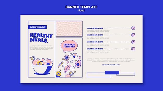 Poziomy baner szablon dla zdrowych posiłków