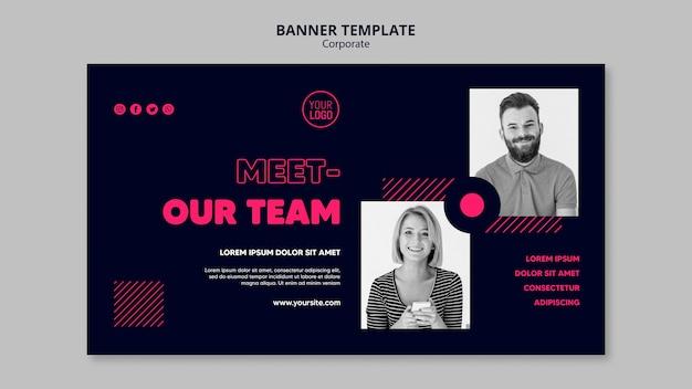 Poziomy baner szablon dla zespołu biznesowego