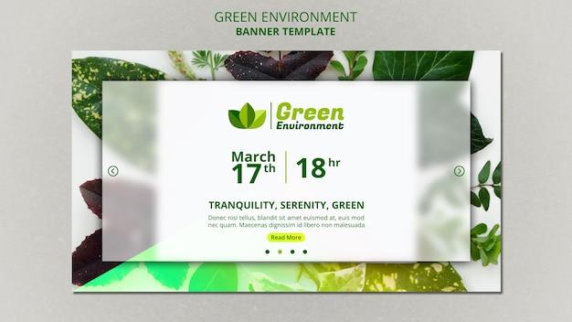 Poziomy baner szablon dla zielonego środowiska
