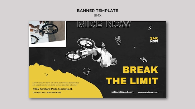 Poziomy baner szablon do jazdy na rowerze bmx z człowiekiem i rowerem