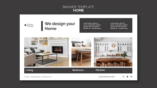 Poziomy baner szablon do projektowania wnętrz domu z meblami