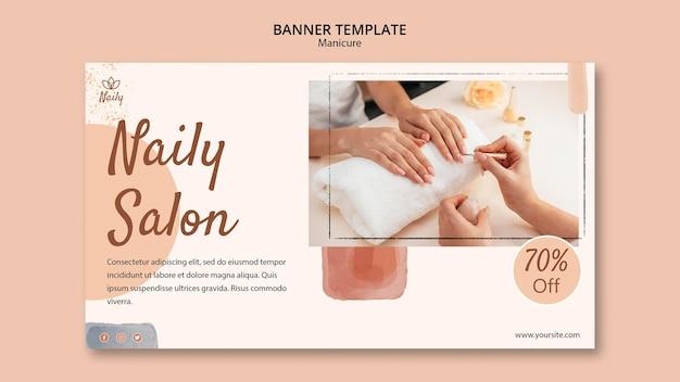 Poziomy baner szablon do salonu paznokci