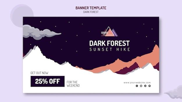 Poziomy baner szablon do wędrówek po ciemnym lesie