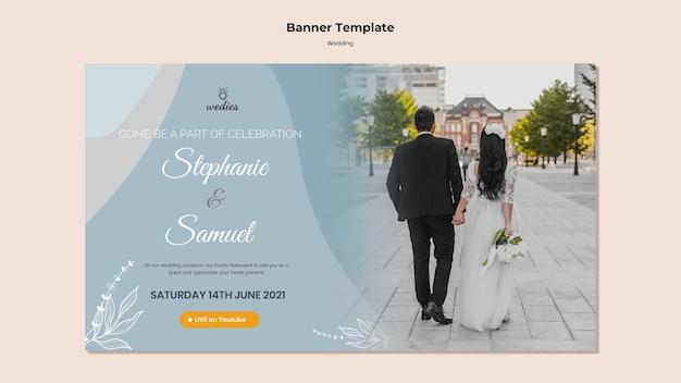 Poziomy baner szablon na ceremonię ślubną z panną młodą i panną młodą