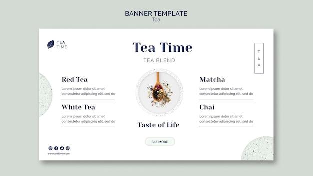 Poziomy baner szablon na herbatę