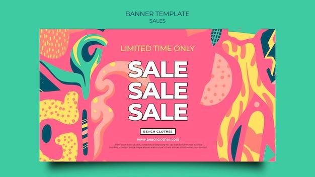 Poziomy baner szablon na letnią sprzedaż