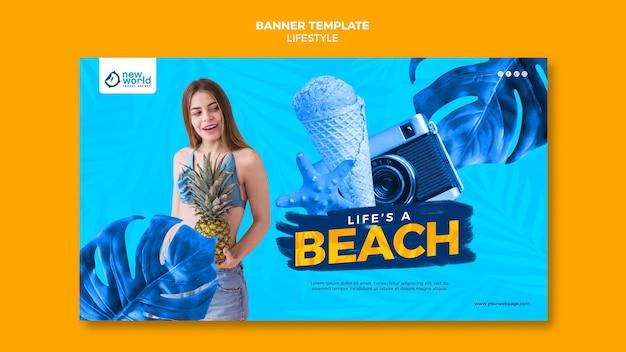 Poziomy baner szablon na letnie wakacje na plaży