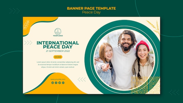 Poziomy baner szablon na międzynarodowy dzień pokoju