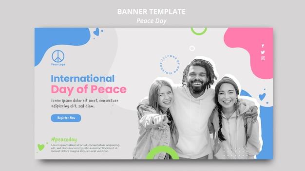 Poziomy baner szablon na obchody dnia międzynarodowego pokoju