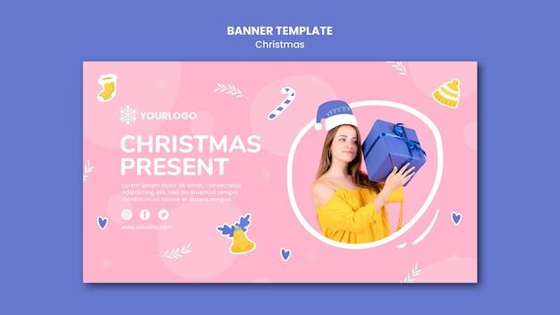 Poziomy baner szablon na prezenty świąteczne