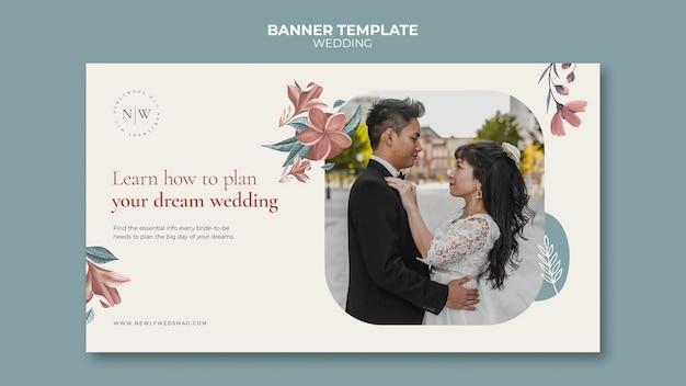 Poziomy baner szablon na ślub kwiatowy