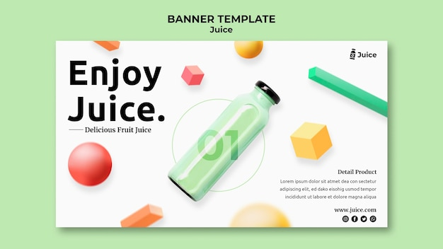 Poziomy baner szablon na sok owocowy w szklanej butelce