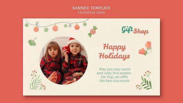 Poziomy baner szablon na świąteczną sprzedaż z dziećmi