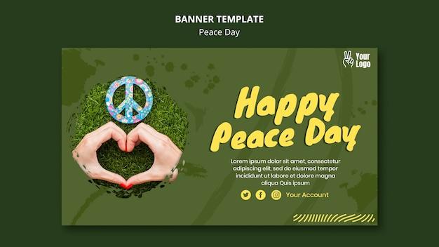 Poziomy baner szablon na światowy dzień pokoju