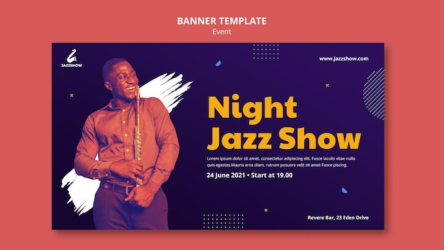 Poziomy baner szablon na wydarzenie muzyki jazzowej