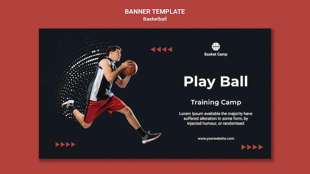 Poziomy baner szablon obozu treningowego koszykówki