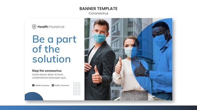Poziomy baner szablon pandemii koronawirusa z maską medyczną