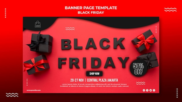 Poziomy baner szablon sprzedaży w czarny piątek