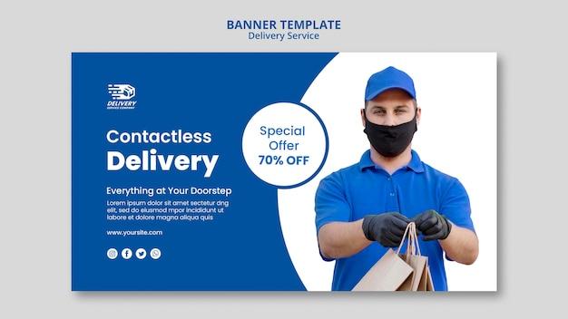 Poziomy baner usługi dostawy