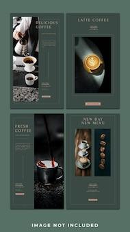 Poziomy baner w kawiarni na instagramie pakiet szablonów historii