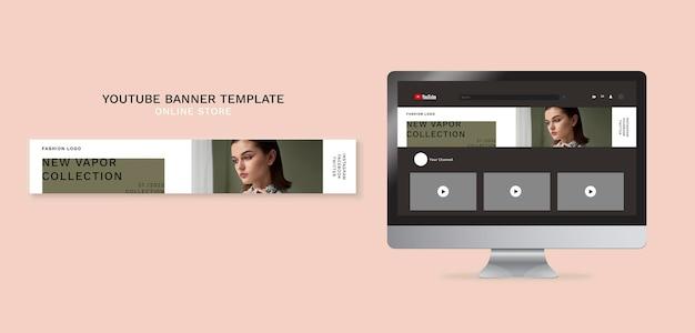 Poziomy baner youtube dla minimalistycznego sklepu internetowego z modą