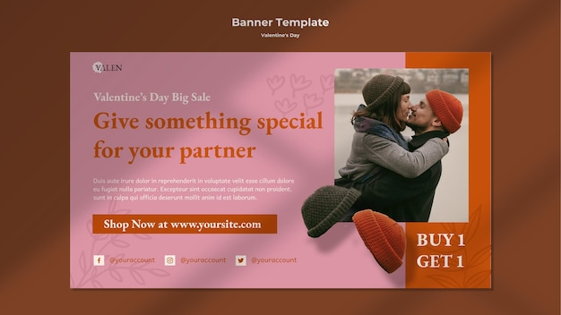 Poziomy baner z romantyczną parą