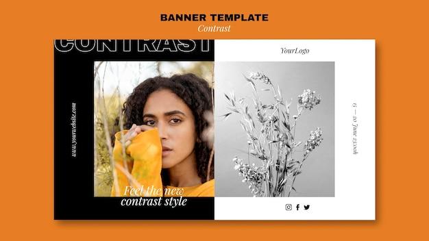Poziomy szablon banera dla kontrastowego stylu