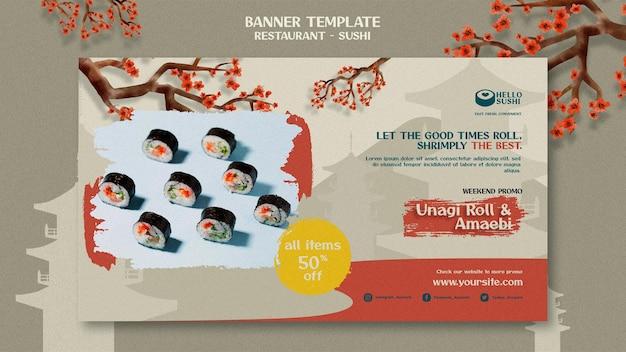 Poziomy szablon banera dla restauracji sushi